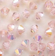 4mm Preciosa Crystal Bicone Light Rose AB - 144